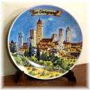 "Ceramic plate San Gimignano ""watercolour panorama"""