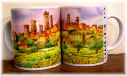 "Ceramic cup San Gimignano ""watercolour sunflowers"""