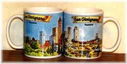"Ceramic cup San Gimignano ""watercolour panorama"""