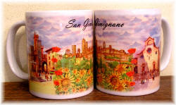 "Ceramic cup San Gimignano ""watercolour view"""