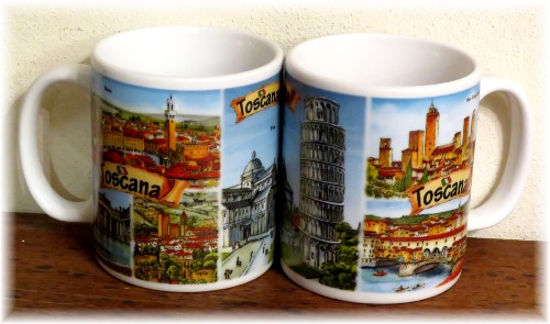 "Ceramic cup Tuscany ""watercolour city"""